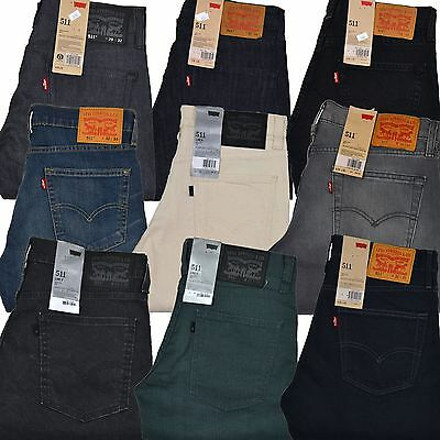 Levis 511 Skinny Jeans Slim Fit Mens Denim Levi's Straight Leg Rare Colors Sizes