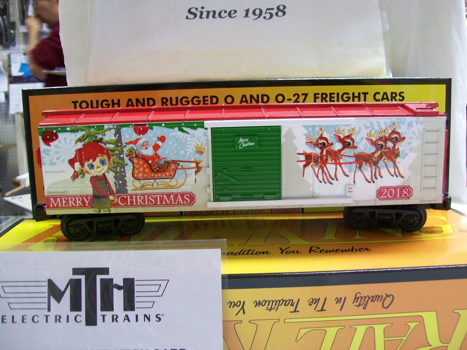 Brand New O Gauge MTH Yr. 2018 Christmas (Santa & Reindeer) Holiday Box Car Nice
