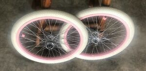 Pink-48-Spoke-Rims-Bitex-Hubs-ACS-Chromoly-Freewheel-Freestyle-BMX-Haro-GT-hutch