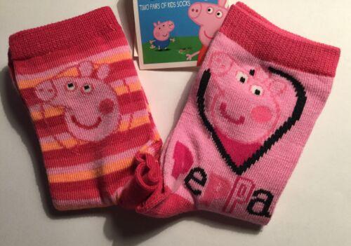 12-2.5 9-11.5 Les filles 2 Pack Chaussettes Avec Peppa Pig Détail Tailles 6-8.5.