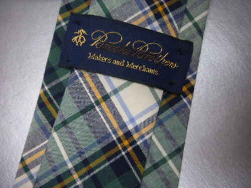 New BROOKS BROTHERS Green White Plaid Slim Cotton Neck Tie ~ $79 NWT