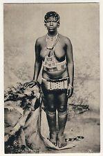 S Africa BUSTY NUDE ZULU in  LOINCLOTH / NACKT m LENDENSCHURZ * Vintage 20s PC