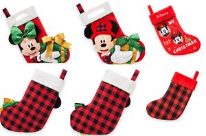Disney-Store-Minnie-Mickey-Mouse-Peluche-Chaussette-de-Noel-Rouge-Vert-2017