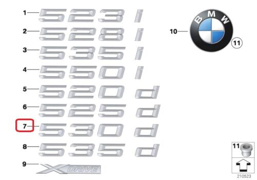 Bmw neuf origine F10 F11 série 5 530d trunk badge emblème logo 7219547