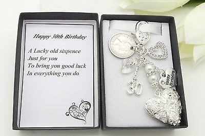 Gran. Auntie. Nan Birthday Gift. Personalised Clear Heart Locket Sixpence Charm