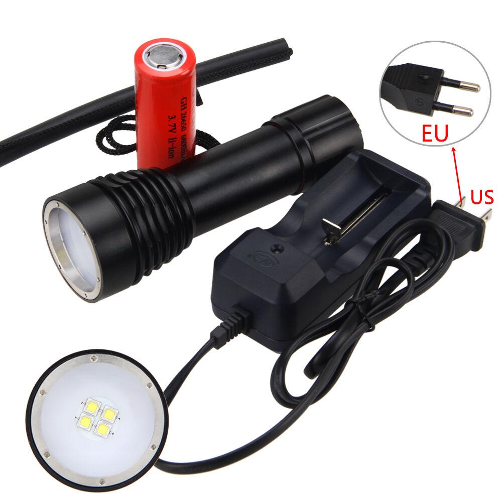 Orginal Unterwasser 100 10000LM 4x XM-L2 LED Fotografie Video Video Video Taschenlampe+26650 d0d919
