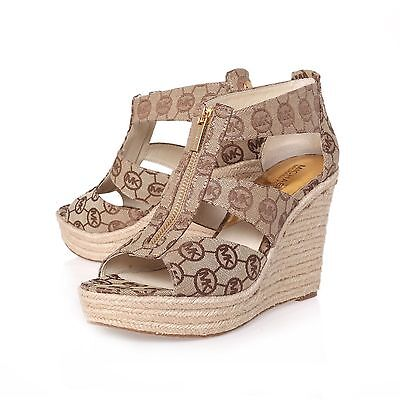 MICHAEL KORS DAMITA RARE MK SIGNATURE LOGO JACQUARD WEDGES I LOVE SHOES | eBay