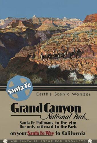 R17 Vintage Grand Canyon Santa Fe USA Railway Travel Poster Re-Print A2//A3//A4