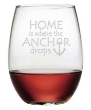 Stemless Wine Glasses Home is Where the Anchor Drops Set of 4 Unique Hand Made