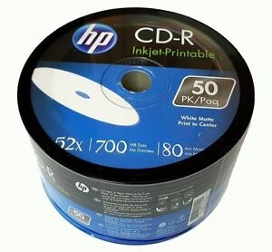 graphic about Hp Printable referred to as Data over 1000 HP Blank 52X CD-R CDR 700MB 80MIN White Inkjet Hub Printable Media Disc