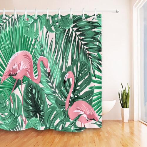 Tropical Vert les feuilles de Palmiers Flamants Rideau De Douche Tapis De Bain imperméables tissu