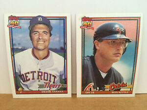 1991-TOPPS-ERROR-CARD-LOT-of-2-Ron-Kittle-324-Frank-Tanana-236-SHORT-PRINT-NM