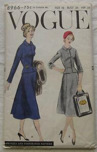 Vintage-Jacket-amp-Skirt-Sewing-Pattern-Vogue-8966-Size-16-UNCUT-FF-suit-1950s