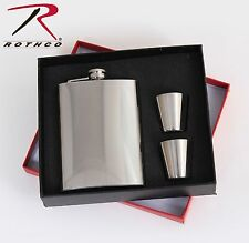 8 Ounce Stainless Steel Flask Gift Set & 1 oz Shot Glass Cups Present Set
