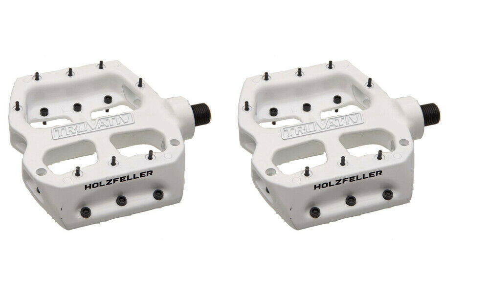 Pair of Truvativ BMX Pedals Holzfeller, White, 8 Replaceable Studs pedal