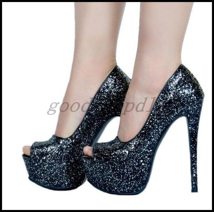 Además de tamaño euro para mujer Puntera Puntera Puntera abierta Lentejuelas Brillos Bling Zapatos De Tacones Altos Bombas de club  entrega rápida