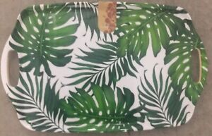 NEW Tommy Bahama Melamine Serving Tray Platter Plate Green Tropical Palm Leaf