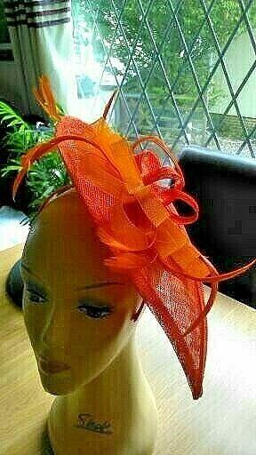 Fascinator bridal ladies day Ascot headband wedding orange array of feathers