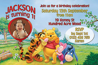 Winnie the pooh birthday party invitations collection on ebay winnie the pooh tigger birthday party invitation custom on disc you print filmwisefo