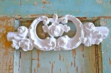 Shabby n Chic Carved Crest w/ Roses-Furniture Appliques-Wood & Resin-Stainable