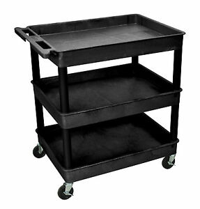 Luxor Three Tub Shelf Utility Cart Tc111 Color Black