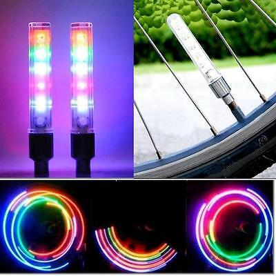 Unused 2 x Bike Bicycle Tire Valve Cap Spoke Neon 5 LED Lights Lamp 7  changes