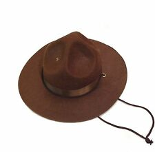 Adult Dark Brown Sheriff Hat Mountie Police Cop Trooper Mountee Cap Mens Costume