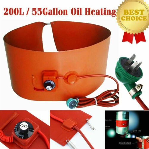 200L//55Gallon 110V 1000W Silicon Rubber Band Heater for Metal Oil Drum Heating