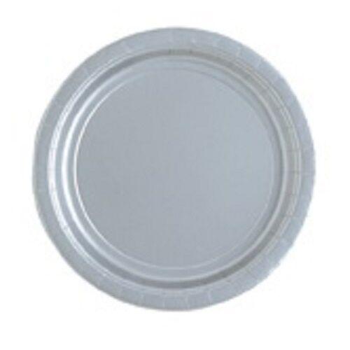 Silver 23cm Paper Party Dinner PlatesCelebrationAnniversary 1-48pk