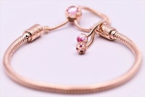 Authentic Pandora Pink Peach Blossom Flower Snake Slider Bracelet 588093 (11in)
