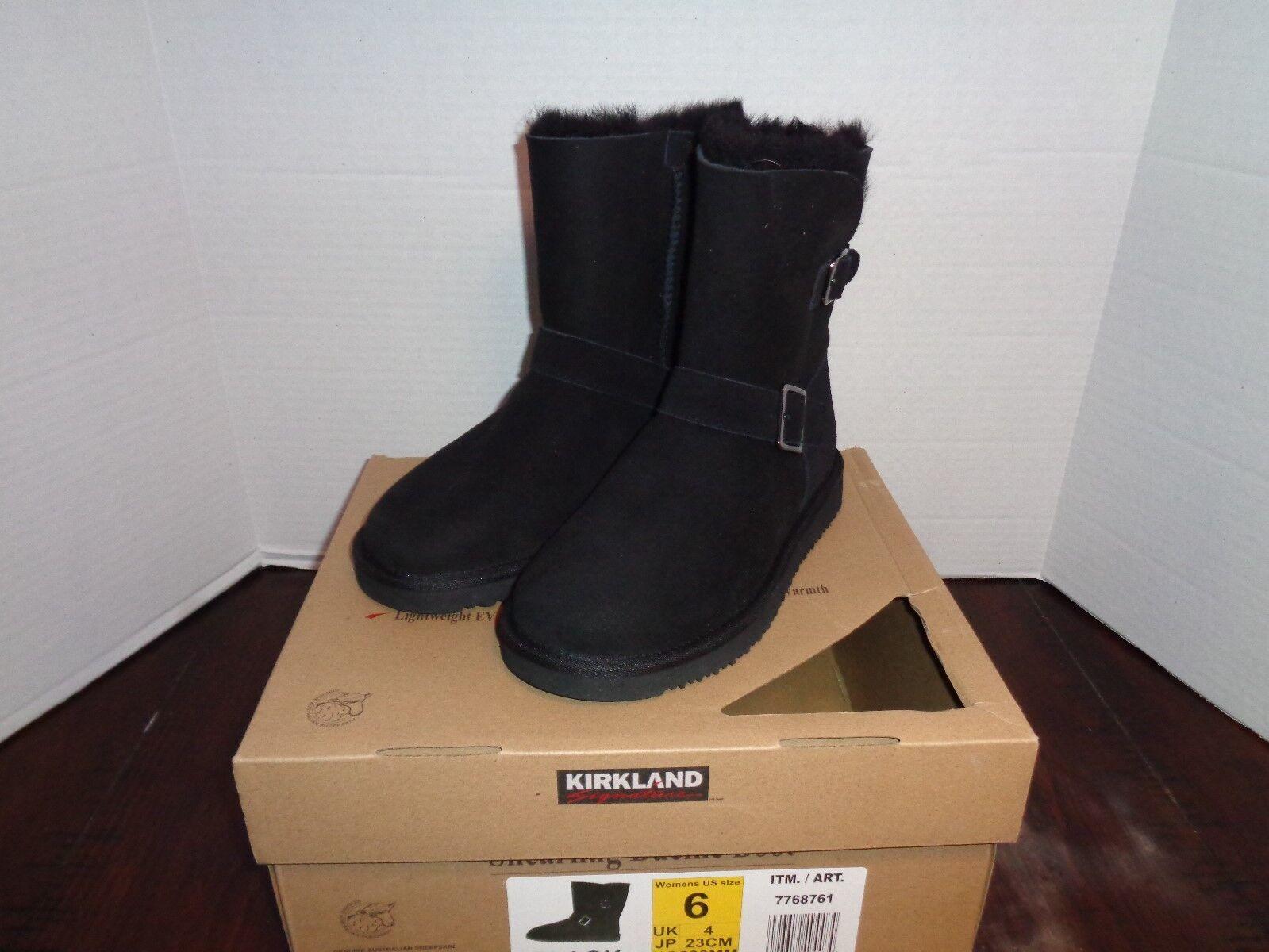 Kirkland Signature Women's Black Shearling Buckle Boots Size 6