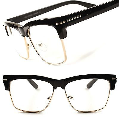 Clear Lens Eyewear Classic Retro Vintage Horn Style Glasses UV Protection New