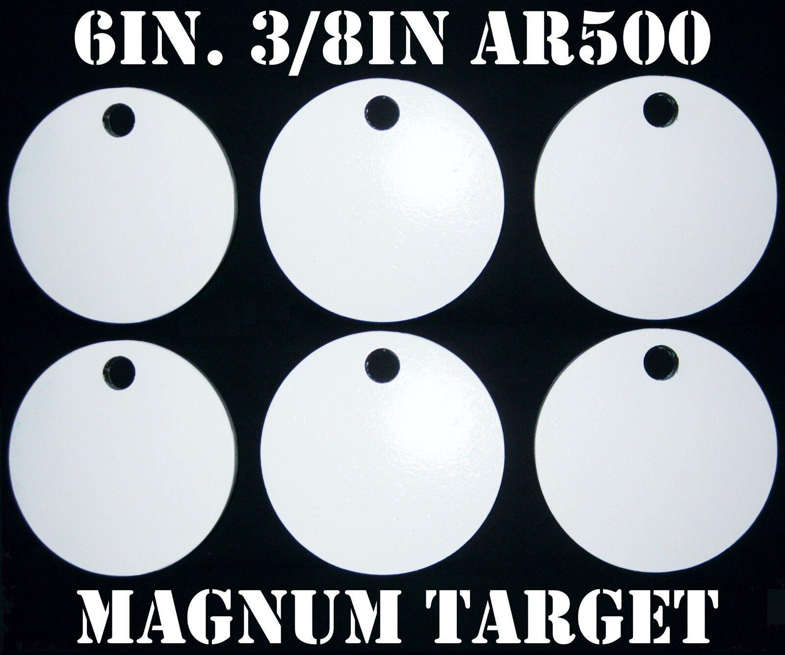 6 in (approx. 15.24 cm). 3 8in.Thk. AR500 Gong objetivos de disparo de Acero - 6pc objetivos de disparo de metal.