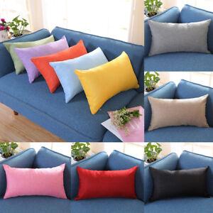 Rectangle-Cushion-Cover-Silk-Throw-Pillow-Case-Sofa-Home-Car-Bed-Pillowcase-UK