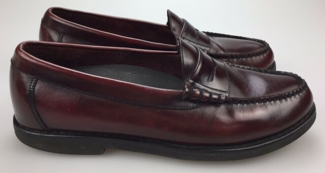 Rockport Penny Loafers Genuine Hand Sewn Burgundy Leather ...