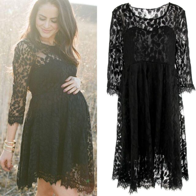 1a7e7c0a82088 Pregnant Women Maternity Lace Floral Dress Long Sleeve Short Mini Dress  Clothes for sale online | eBay