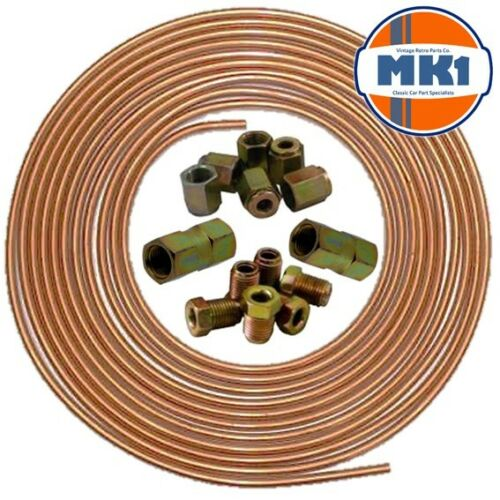 """Renault Clio 25ft 3//16/"""" Copper Brake Pipe Male Female Nuts Joiner Tube Joint Kit"""