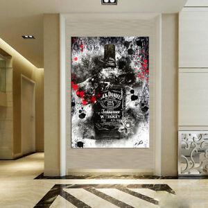 Whiskey-Flasche-Bar-amp-Club-Bilder-auf-Leinwand-Abstrakte-Wandbilder-D0755