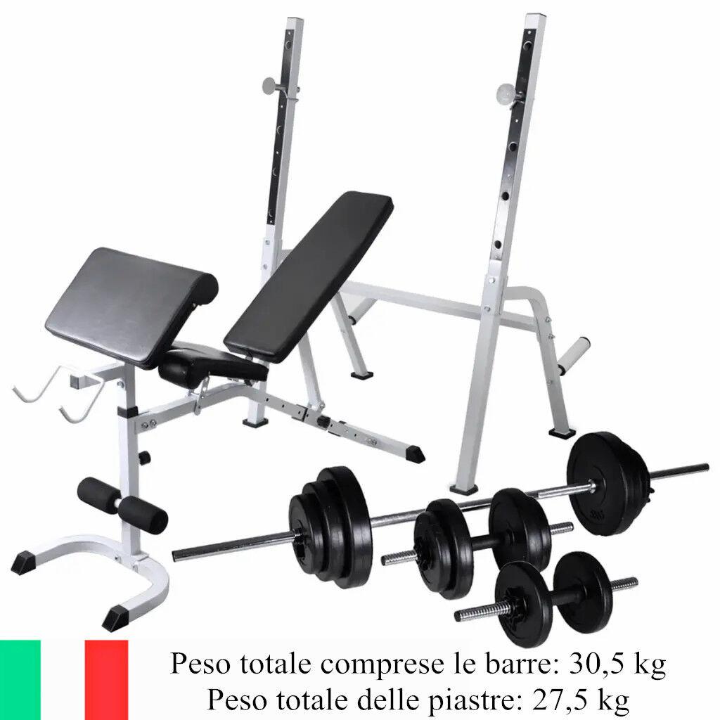 Panca Fitness Per Addominali Palestra Allenamento con Rack Bilanciere e Manubri