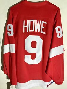 CCM-Ribbed-Knit-LS-NHL-Jersey-Detroit-Redwings-Gordie-Howe-Red-Vintage-sz-2X