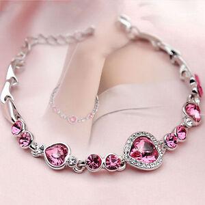 Women-Ocean-Blue-Crystal-Rhinestone-Heart-Bangle-Bracelet-Gift-Fashion-Pink-hi