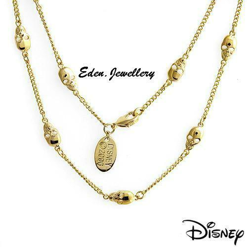 Super RARE Disney Couture Pirates of Caribbean Skull Gold Plated Necklace 1 ONLY