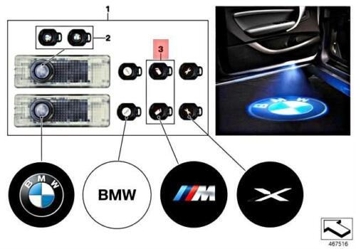 Genuine Door projector slides L+R M logo BMW Alpina Hybrid M3 M5 M6 63312413539