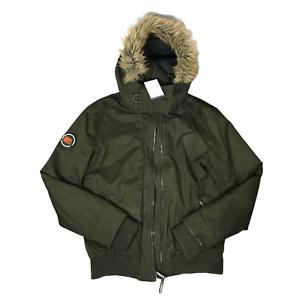 Superdry Herren Microfibre der Pelz Hooded Windbomber Jacke Mantel grün Größe Large