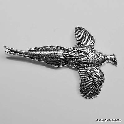 British Made Flying Grouse Pewter Pin Brooch Shotgun Game Hunting Bird