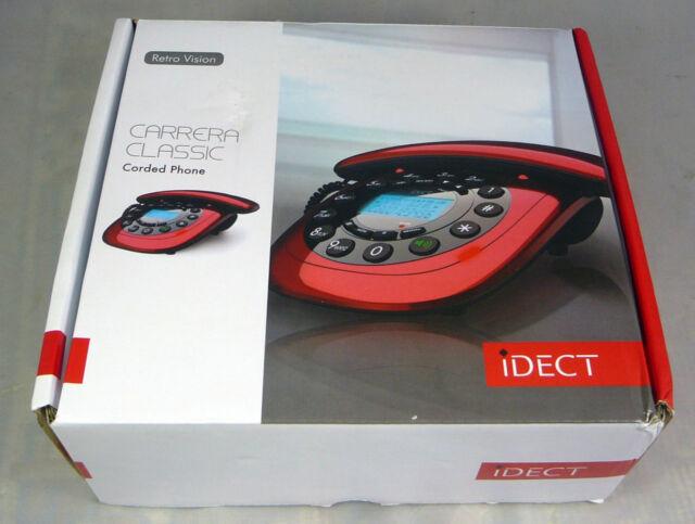 iDECT Carrera Classic Red Corded Home Telephone Phone Handsfree Speakerphone