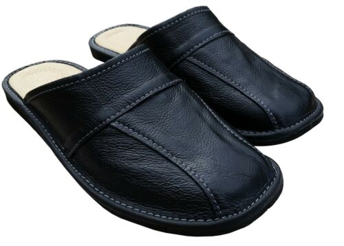 Mens Scuff Leather Slippers Warm Winter Slip On Mules Black Brown Size US 7-13