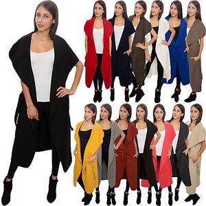 Damen Mantel Blogger Wasserfall Kragen Übergangs Jacke mit Gürtel One Size D-58