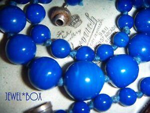 ART-DECO-RARE-SIGNED-FRANCE-LOUIS-ROUSSELET-BLUE-GLASS-BEADS-VINTAGE-NECKLACE