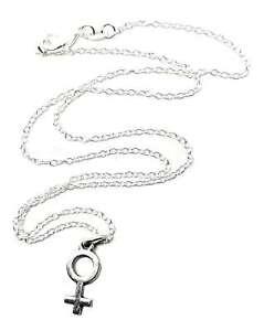 34166777e Female Venus Symbol Pendant Silver Plated Women Venus Feminist Chain ...